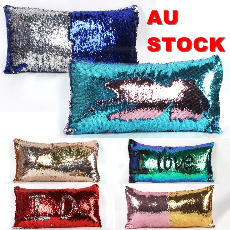Reversible Mermaid Sequins Throw Pillow Case Glitter Decorative Cushion Cover
