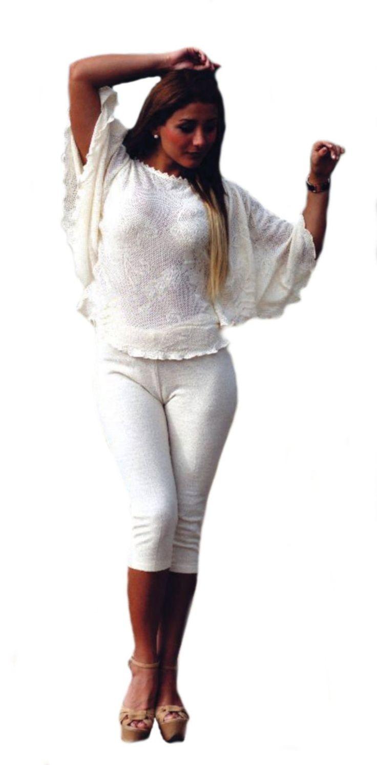 Natur weißes Damen Set 3/4 #Hose #Leggings und Blusen Shirt Fledermausärmel 100% #ökologische strukturierte Pima #Baumwolle Biobaumwolle: