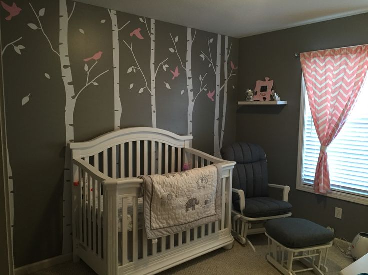 Baby girl nursery. Pink grey and white. Elephant and bird theme with tree nursery decals.