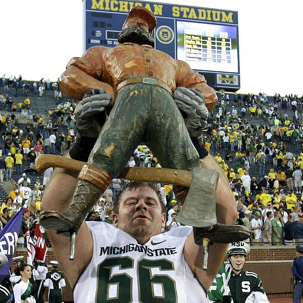 The Paul Bunyan Trophy was first introduced for the 1953 Michigan-Michigan State game.  AP Photo/Carlos Osorio