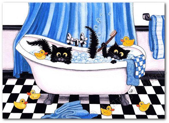 Gummi-Enten-Schaumbad-Dekor schwarze Katzen - Kunstdrucke von Bihrle ck279
