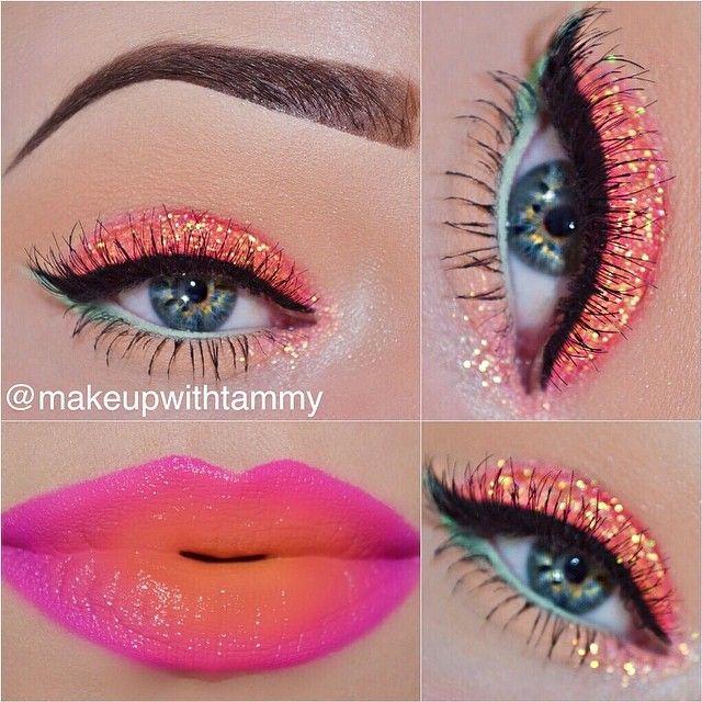 Pink and orange makeup look