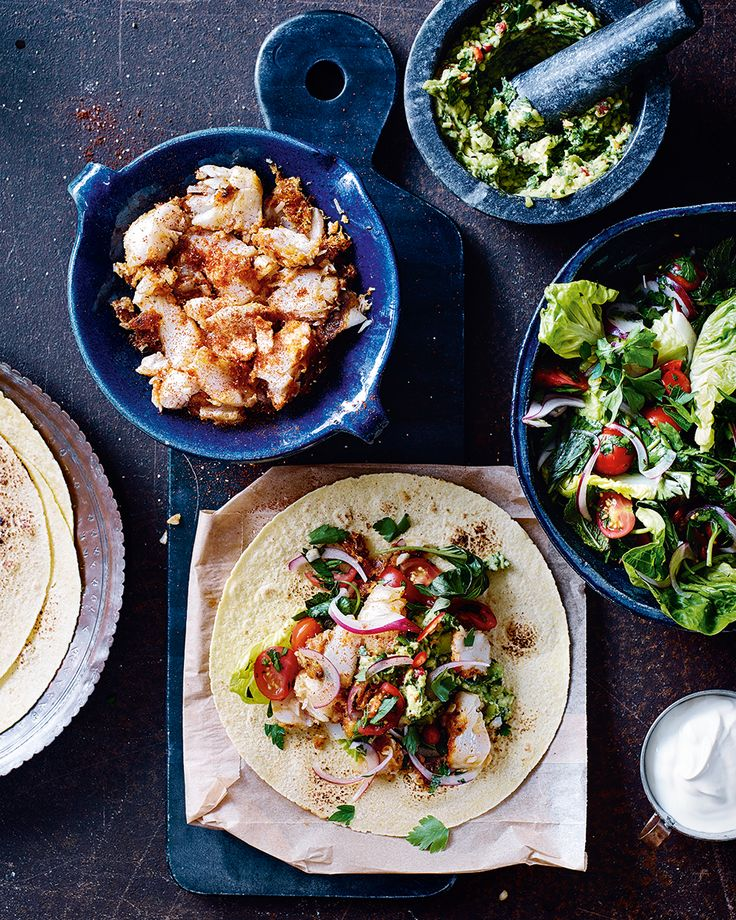 Serve all the elements of these fish tacos in separate bowls for a sharing-style family dinner. The cooling guacamole nicely complements the heat from the spice rubbed cod – making it easy to tailor the dish to your taste.