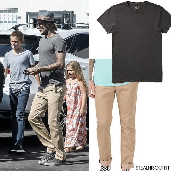 David Beckham in grey t-shirt and khaki pants. #mensfashion