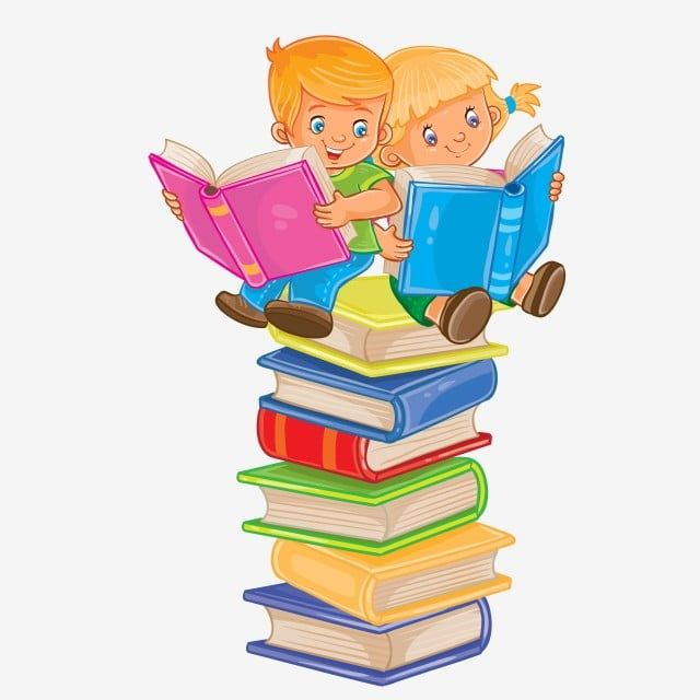Vector Illustration Of A Little Boy And Girl Sitting On A Pile Of Books And Reading Print Reading Clipart Reading Book Png And Vector With Transparent Backgr Boy And Girl Drawing