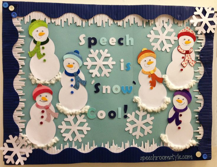 Speech Room Style: Winter Designs-Snowman Bulletin Board! Pinned by SOS Inc. Resources. Follow all our boards at pinterest.com/sostherapy/ for therapy resources.