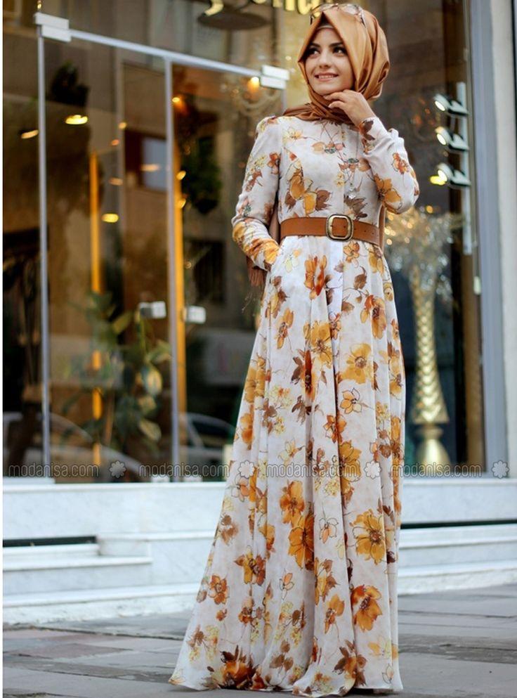 Çiçek Desenli Elbise - Hardal - Pınar Şems