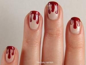 Blood Drip Nail Art-these would be fun for Halloween