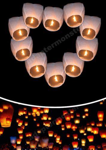 20 x Wishing Lanterns Chinese Paper Sky Candle Wedding Flying Party Lamp White | eBay