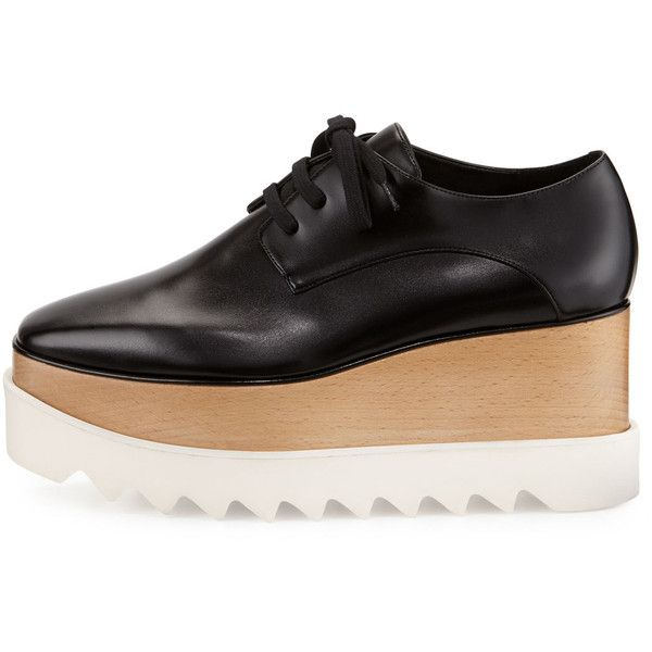 Stella McCartney Elyse Platform Oxford (3.795 BRL) ❤ liked on Polyvore featuring shoes, oxfords, black lace up shoes, black platform oxfords, wedges shoes, wedge oxfords and black shoes