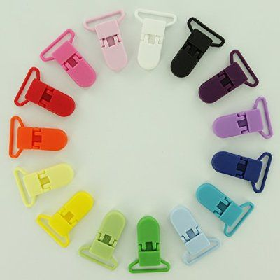 """15 Starter Pack 1"""" KAM Plastic Pacifier Clips / Suspender Clips with Gripping Teeth for Binky/Paci/Pacifier/Dummy/Bib/Toy Holder Clip"""