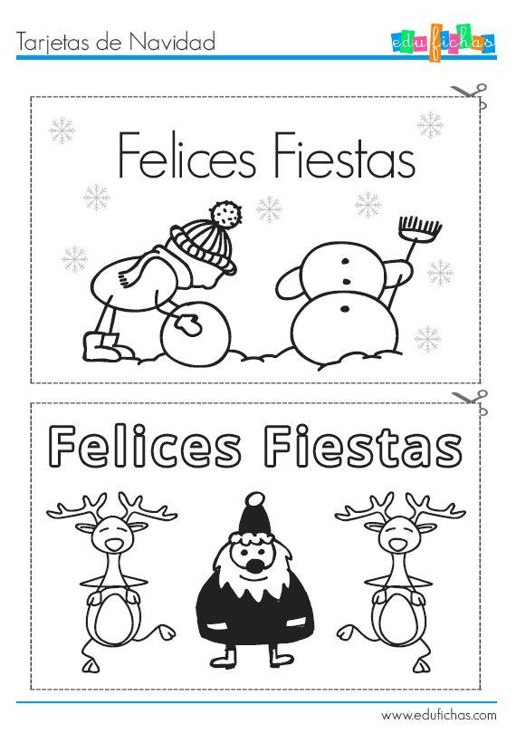 Tarjetas de Navidad  http://www.edufichas.com/tarjetas/navidad-tarjetas/tarjetas-coloreables-de-navidad/  #navidad #fichas #recortables #niños