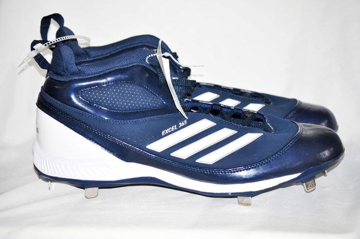 Adidas Men Excel 365 Metal Mid Baseball Cleats Navy White Silver size 12.5 D NEW #adidas