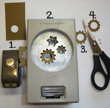 Stampin up punches - how to turn Boho Blossoms into 'cogs'  - great to use with the Clockworks stamp set!
