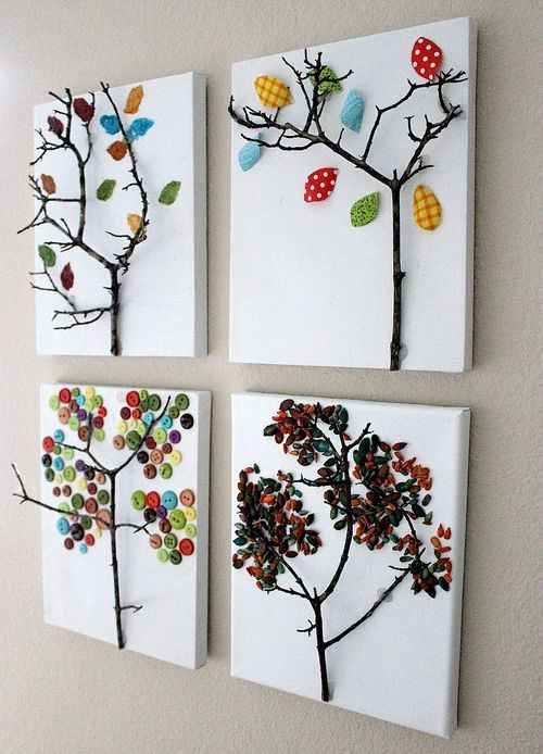 stick trees: Wall Art, Trees Art, Idea, For Kids, Fall Crafts, Trees Canvas, Trees Branches, Fall Trees, Trees Design