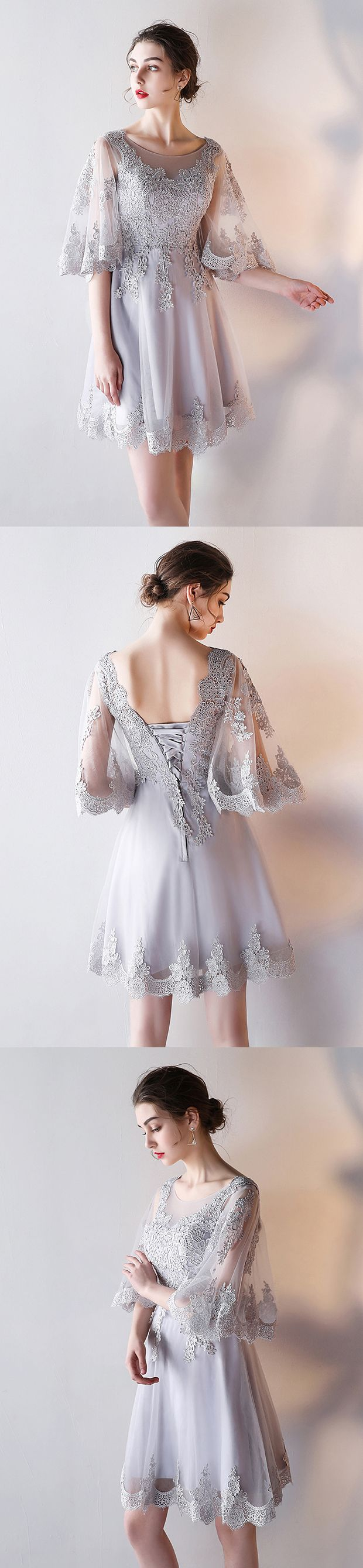 a-line homecoming dresses,fashion homecoming dresses,chiffon homecoming dresses,half sleeves homecoming dresses,lace up homecoming dresses,2017 homecoming dresses,appliques homecoming dresses,homecoming dresses for teens