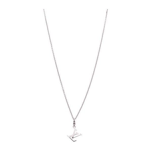 Pre-Owned Louis Vuitton LV Initials Pendant Necklace - 18K White Gold ($2,025) ❤ liked on Polyvore featuring jewelry, necklaces, silver, pendant necklaces, white gold chain necklace, letter charm necklace, initial charm necklace and white gold pendant necklace