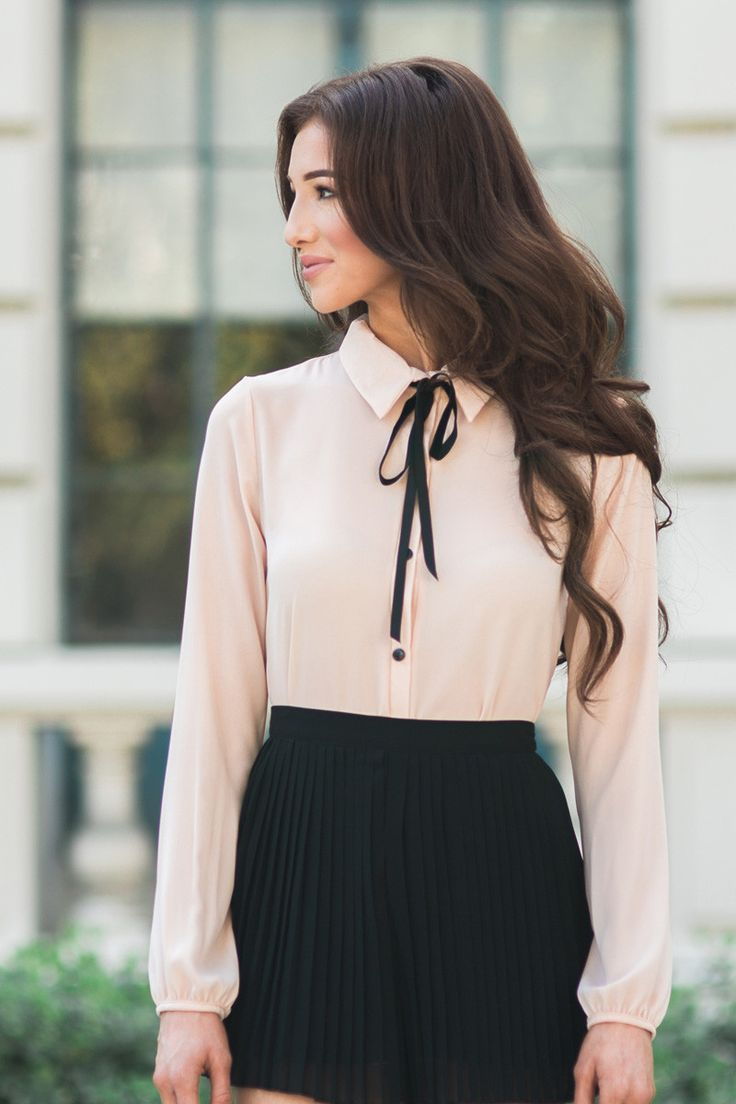 Excellent Ladies White Blouse With Black Tie  Silk Pintuck Blouse
