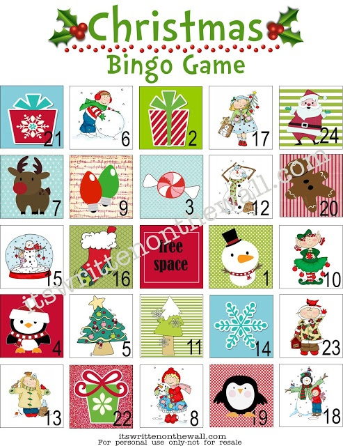 It's Written on the Wall: (Freebie) Christmas Bingo Game-Great Fun for School & Home