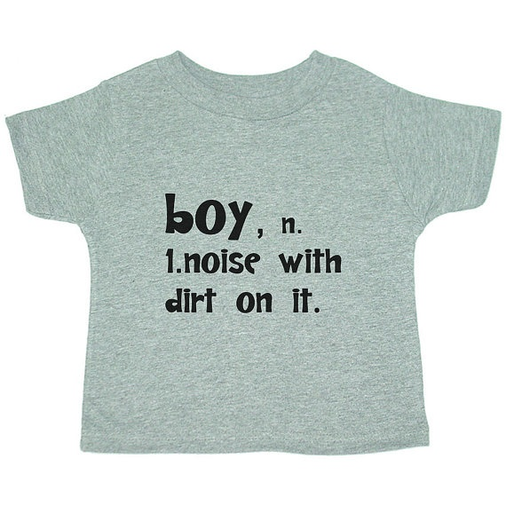 Boy: Noise with Dirt on it Kid's Children's Clothing  T Shirt Toddler Shirt - GREY (3 Colors)  Sizes 18M 2T 3T, $16.00