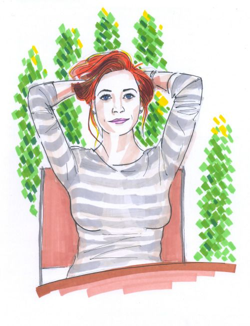 November 8, 2016. Relaxing redhead woman. September. Sketch, markers.