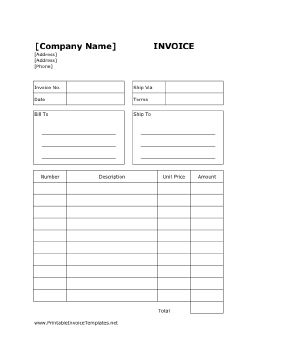 A printable invoice for billing purposes that also has room for detailed shipping information and prices. It is designed in portrait orientation and has lines. It is available in PDF, DOC, or XLS (spreadsheet) format. Free to download and print