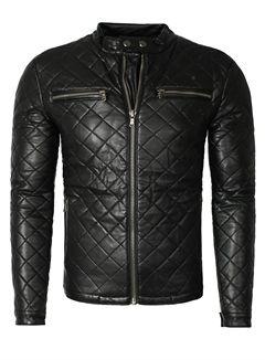 Lederjacke aus PU YC Clothing Herren Kunstlederjacke Stehkragen schwarz P27285