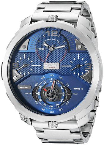 Montre Diesel DZ7361 - Homme - Quartz - Analogique - Cadran et Bracelet en Acier inoxydable Argent - Jour et Date