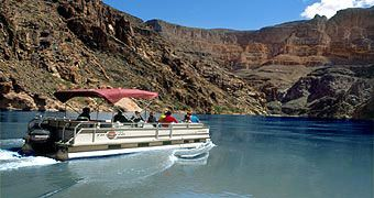 Grand Canyon West Rim Tour, Helicopter to Canyon Floor & Colorado River Pontoon Boat Combo and optional Skywalk (Bus)