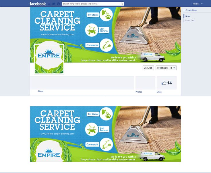 Facebook page for empire carpet cleaning by JuanCreative