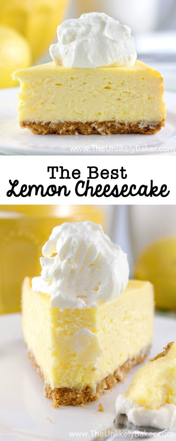 Exquisitely light and lemony. Perfectly sweet and tangy. Coconut cookie crust. Lemony whipped cream. This is the best lemon cheesecake ever. via @unlikelybaker