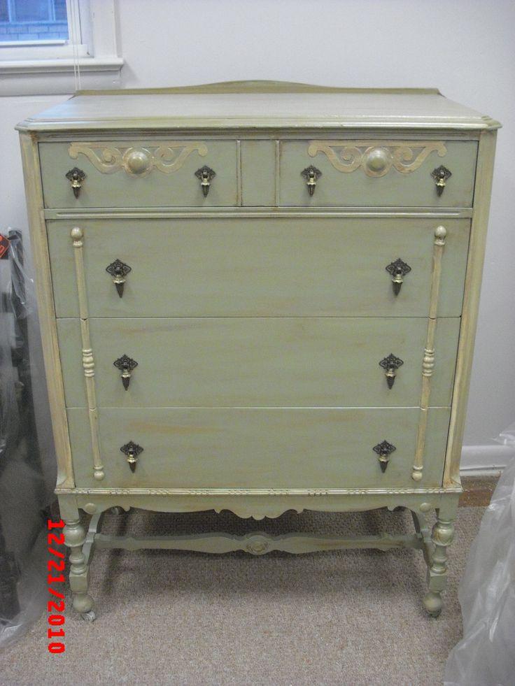 Vintage Custom Painted Shabby Chic Dresser Chest Of Drawers Bedroom  Furniture #shabbychic #paintedfurniture #