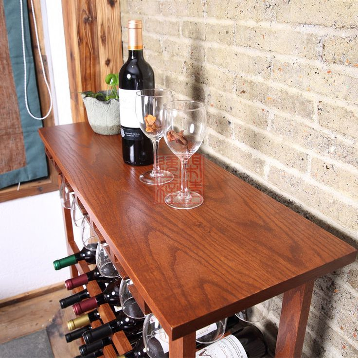 Red oak bar solid wood wine rack Multifunctional wine display rack Wine rack solid wood wine rack