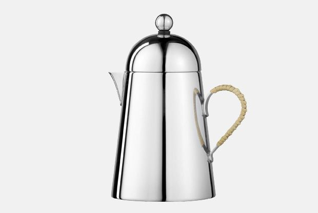 Domus Cream Jug Wicker Handle  http://www.nickmunro.com/shop/tea-and-coffee/  Conical shaped cream jug with round lid made from 18/10 polished stainless steel and hand applied wicker handle. Not suitable for the dishwasher.  Dimensions:  Capacity: 300 ml  Height: 14.5 cm  Diameter: 8.5 cm