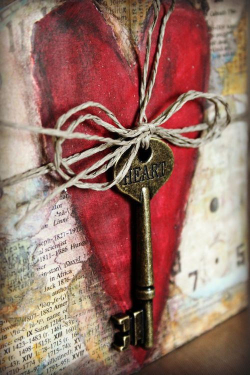 """""""Love is the master key to the heart and the gates of happiness."""" ~Oliver Wendall Holmes ♥ #heart #key #love #mixed_media #art"""
