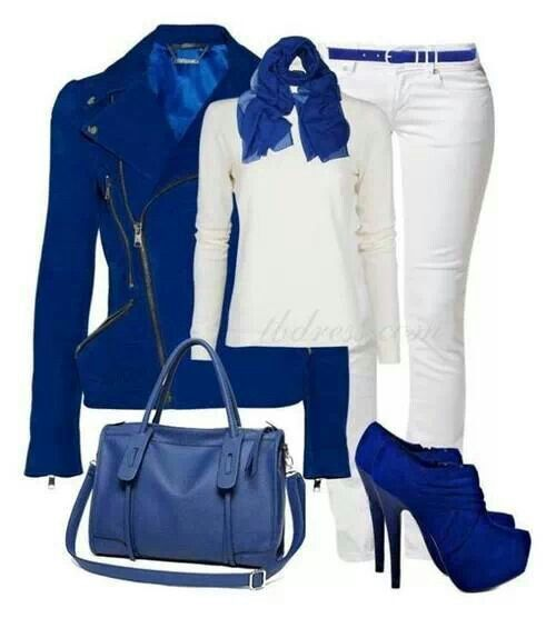 Royal blue top or jacket, with white jeans or pants. I can see you in this  outfit!