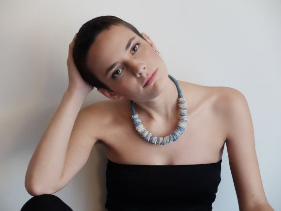 Textile light necklace /minimal necklace/handmade /upcycled foulard/ ecofriendly / ethnic jewelry/ fabric scarf collar