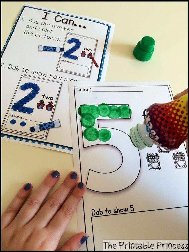 Number practice using FUN bingo dabbers! Great for fine motor!