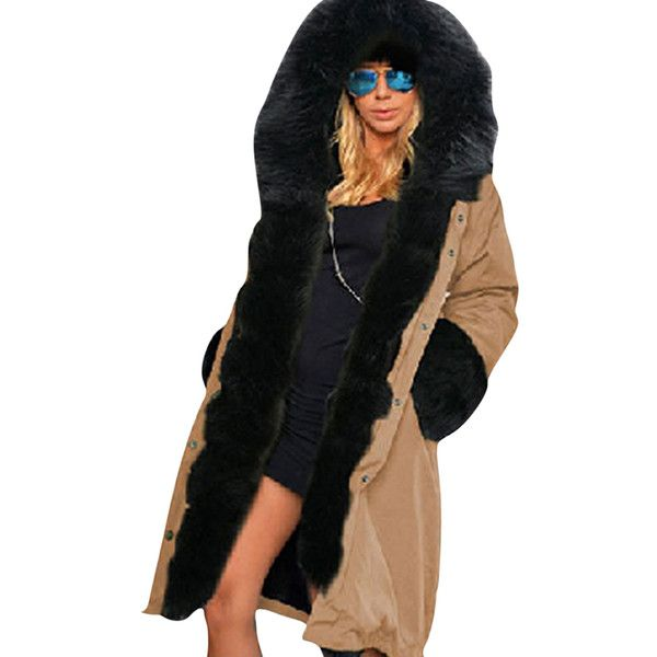 Womens Detachable Faux Fur Hooded Thick Warm Parka Coat Khaki (89 CAD) ❤ liked on Polyvore featuring outerwear, coats, khaki, khaki coat, faux fur hood parka, faux fur hood coat, parka coats and khaki parka