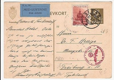 Norway 1941 WW2 censored uprated stationery postcard air mail SLEMDAL to Germany