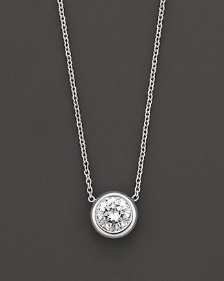 Roberto Coin 18 Kt. White Gold Bezel-Set Diamond Solitaire Pendant, 0.24 ct. t.w. | Bloomingdale's