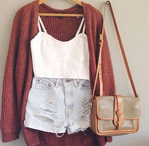 cardigan, white tank, jean shorts