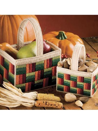 Plastic Canvas - Projects for the Home - Basket & Box Patterns - Autumn Fields Nesting Baskets