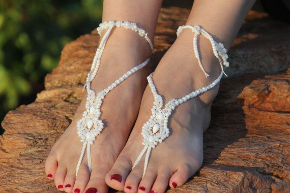 Bridal Barefoot Sandals Beach Wedding Micro Macrame by JJJCrafts