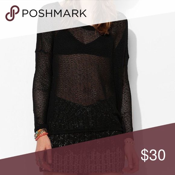 UO Staring at Stars Crochet Trim Sweater in Black Nwt. Never worn. 65% polyester, 35% rayon. Size M. Urban Outfitters Sweaters Crew & Scoop Necks