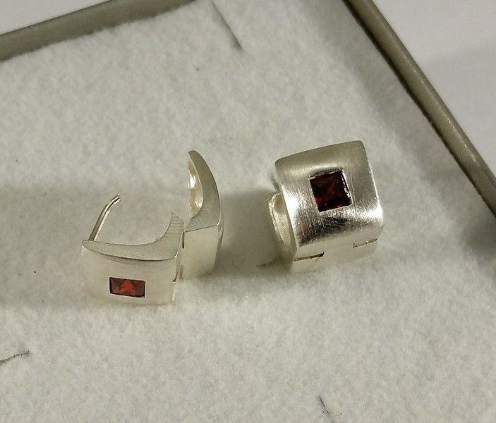 Vintage Ohrhänger - Ohrringe Klapp Creolen Silber 925 Kristall OR291 - ein Designerstück von Atelier-Regina bei DaWanda
