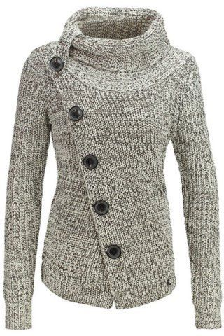 *Chic Turtleneck Long Sleeve Button Design Knitted Women's JacketJackets | RoseGal.com