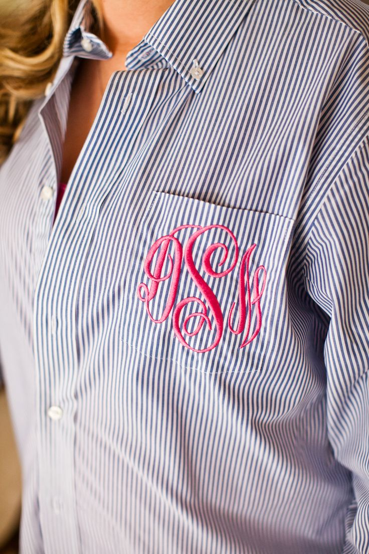 Monogrammed shirts for the Bridesmaids to get ready in. #monogram #bridesmaids #wedding