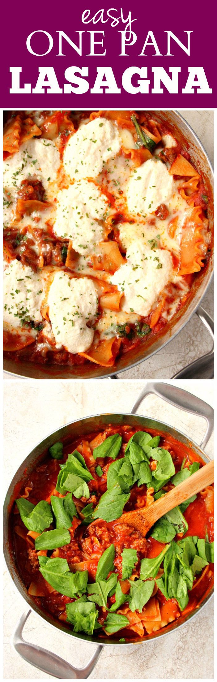 Easy One Pan Lasagna Recipe - quick and easy skillet version of everyone's favorite dish! Made with Italian sausage, delicious sauce, lasagna noodles and topped with cheese!