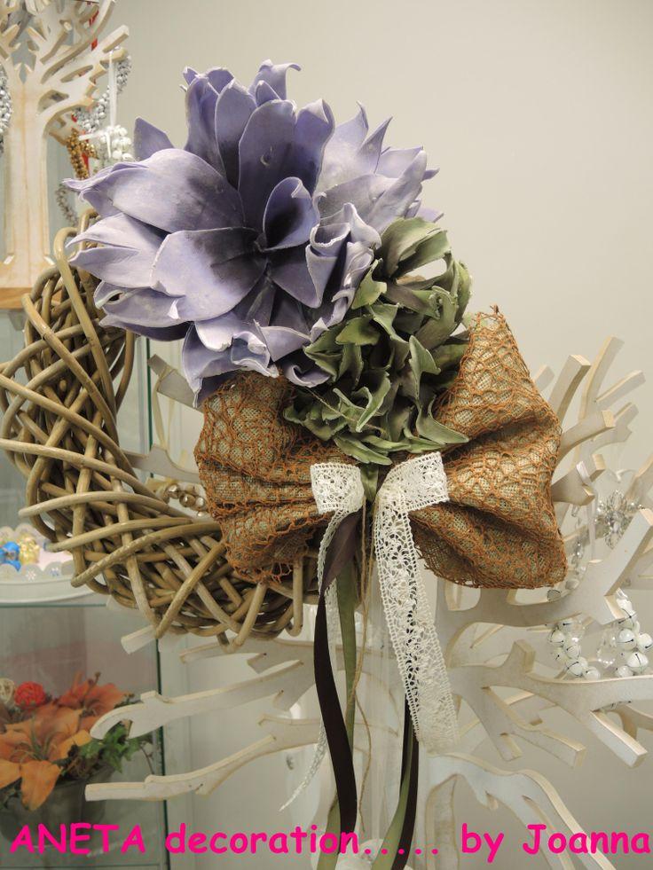 στεφανι με λιλα λουλουδι και λινατσα!!!!!